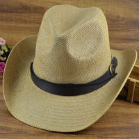 2014 Cheapest Large brim strawhat beach cowboy cap sun-shading hat male summer sun hat fedoras jazz hat