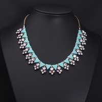 2014 new European and American minimalist resin retro fashion female gem necklace short clavicle