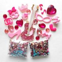 DIY 3D Hot Pink Crystal Guitar Alloy Phone Deco for DIY Phone Cases