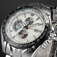 Fashion Calendar 3 DIal Decoration White Dial Sport Quartz Full Steel Wristwatch Fashion Casual Male Curren Watch Men / CUR023
