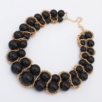 New Fashion Women's Vintage Gold Chain Black Big Faux Pearls Statement Bib Necklaces Jewelry Choker Free Shipping#100939