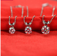 2014 new female short paragraph clavicle chain necklace single zircon pendant jewelry fashion jewelry simple
