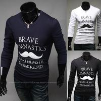Free shipping 2014 new arrive fall fashion male slim print t-shirt round neck men t-shirt casual t-shirt men size M~XXL