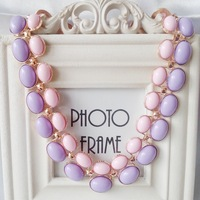 2014 new fashion purple pink resin minimalist gem necklace short chain necklace women