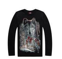 New hip hop loose men long sleeve T-shirt fluorescent summer wear men's T-shirt 3D luminous Wolf print top&tees L027