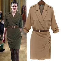 New Women Autumn Mid-Sleeve Bodycon Dress Cotton Linem Dresses 2 Colors European And American Wholesale BM-021