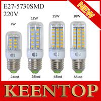 2014New Arrival E27 24Led 36Led 48Led 56Led Pendant Light Smd 5730 7w 12w 15w 18w Corn Lamps Spotlight Solar Ceiling Bulb 10Pcs