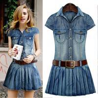 2014 summer new women in Europe and America European leg washed blue denim dress denim skirt pleated waistband BM-030