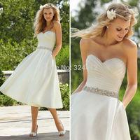New Fashion Tea Length White Ivory Short Wedding Dresses with Pocket