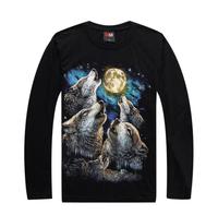Men's long sleeve street loose big yards T-shirt  luminous moon rock metal heaven black Wolf hip-hop top&tees L028