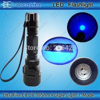 New C8 Flashlight Case UV 395nm Purple Light 1-Mode Ultraviolet UV 3w Lamp Money Detector Torch