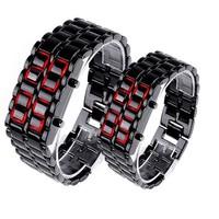 100pcs/lot Men Women Lava Iron Samurai Metal LED Faceless Bracelet Watch Wristwatch Stainless Steel Novelty Item for Gift WA019