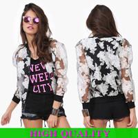 New 2014 Fashion Autumn&Winter Women Coat Bat Sleeve Floral Jackets Women Clothes With Zipper Short Women Jacket Plus Size