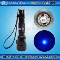 C8 UV Ultraviolet 365nm Wavelength 1-Mode(on/off) UV 3W LED Flashlight Torch Lamp (1x18650)