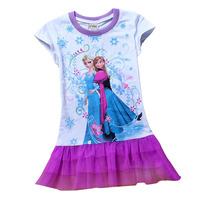 Baby Girl's 2014 summer FROZEN Short sleeve Children T shirt  white princess dress