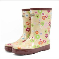 New Women's galoshes Cute Bowknot Rain Boots Rubber Flat Heel Ankle Rainboots Fashion galoshes rainshoes 36-40 XWX43