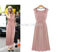 Free Shipping Plus Size new2014Summer Eurpean American Ladies Fashion Sleeveless Slim Fitted Bodycon  O-Neck Chiffon Long dress