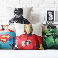 Free Shipping Super Heros pillow cover/ cushion cover pillow Ironman/Superman/Batman/Green Lantern/The Flash/Captain America