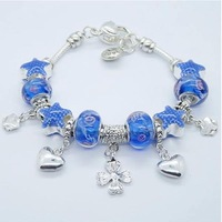2014 new design blue heart chain bracelet  for women accessories bangle bracelets women beaded bracelets and bangles PA132