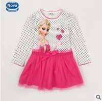 Wholesale 2014 Europe and America autunm cartoon girls dot long sleeve dress girl princess cotton dress