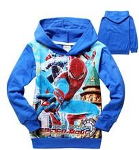 2014 New boys cartoon long sleeve spider man hoodies kids spring autumn cotton sweatshirts children's sports coat hoody in stock()