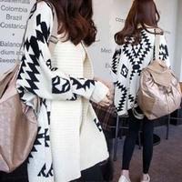Cheap Sale! Fashion Women Hot Sale Geometric Pattern Knitted Loose Sweater Casual Apricot Batwing Long Sleeve Cardigan Sweater