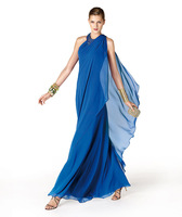 New Fashion Sexy Halter Beaded Royal Blue Chiffon Beaded Formal Long Cheap Bridesmaid Dresses 2014