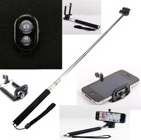 Black Extendable Self Portrait Selfie Handheld Stick Monopod + Wireless Bluetooth Remote Control for IOS Android Phones