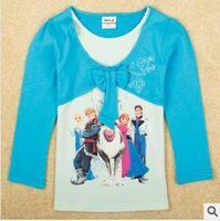 2014 autunm pig girls tshirt kids cotton long sleeve cartoon tshirt girls princess cloth