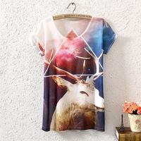 2014 summer in the new  printing long women's short sleeve T-shirt,Fashion printing styles, ms Cotton kind of blended T-shirt
