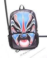 Beijing Opera Facial Makeup Printing Backpack for Women Cool Girl Nylon Knapsacks Mochila Lona Feminina Fashion 2014 New Arrival