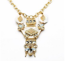 New 2014 Famous Design Top Jewel Resin Plate Honey Bee Crystal Rivet Collection Bib Statement Pendent Necklace Christmas Gift