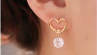Free Shipping Vintage Earrings Love With Zircon Fashion Jewelry Heart-shaped earrings 6pcs/lot