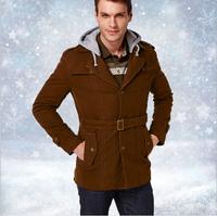 2014Winter New Man Fashion 100% Cotton Down Jacket Casual Hooded Thick Jaqueta Masculina Solid Black Brown Men Coats L-XXXL