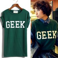Korean Trendy Hem Roll-up Sleeve At Random Hem Geek Loose Letter T-shirt Casual  Women Top Tee 4 Colors LSP8023LBR