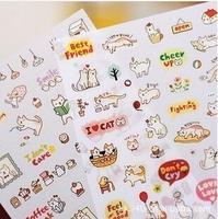 6 sheets/lot DIY Cute Cartoon Cat Paper Sticker for Scrapbooking Diary Kids Children Free shipping