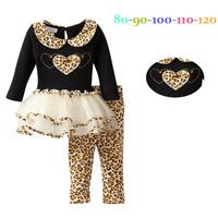 fashion 2014 kids girls leopard clothing set. love top cake dress long pant leopard clothes hem .party girls dress.