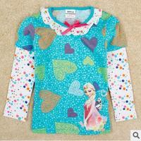 2014 autunm pig girls heart tshirt kids cotton long sleeve cartoon bow tshirt girls princess cloth