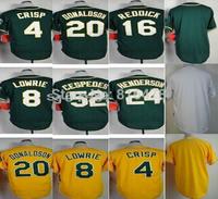 Free shipping cheap  baseball jerse #4Crisp #8 Lowrie 16Reddick #20 Donaldson #52Cespedes  men Jersey,blank  jersey wholesale