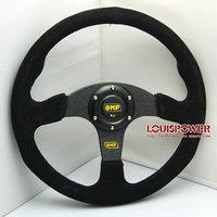 New 350mm  Racing Sport  OMP SUEDE  Steering Wheel  Universal  with  horn automobile steering wheel