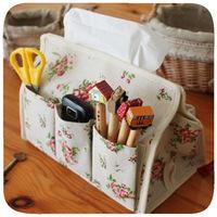 Y166 cotton fabric tissue box pastoral style floral towel sets the desktop multifunction Tissue debris storage box