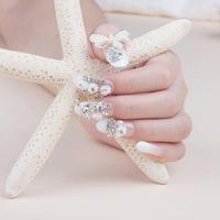 Hot Sale Crystal White Wedding Full Cover  Fasles Bridal Nail Decorated Acrylic Nail Art Tips Drop Ship  HC09-WD-007