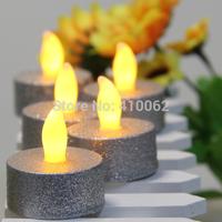 8Pcs/lot  Tea Lights Battery Candle Flameless Flickering Xmas Glitter Silver