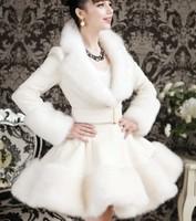 New winter fur coat white wool inserts artificial fox fur mix rabbit coat slim fur jacket skirt high quality free shipping