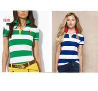 High Quality New Summer Polo Women's T Shirt Short Sleeve Embroidery Logo Stripe Tees For Female American Fashioin Girls' Brand