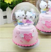 Hello Kitty snow globe crystal ball music box free shipping