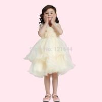 2014 New Free shipping Girls Cake Dress Satin wedding dress  Organza Princess dress Suitable for children aged 2-16 Wholesale