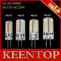 SMD 3014 G4 3W 4W 5W 6W 24Led 32Led 48Led 64Leds Crystal Lamp Light DC 12V / AC 220V Silicone Led Bulb Chandelier Spotlight 1Pcs