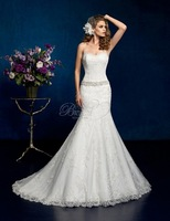 Style Exceptional 2015 Mermaid Wedding Dresses Sweetheart Beading Allover Lace With Beaded Sash Court Train Bridal Gown