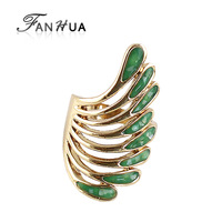 Gold Color Green Enamel Wings Finger Rings for Women New 2014 Fashion Wholesale Engagement Gift